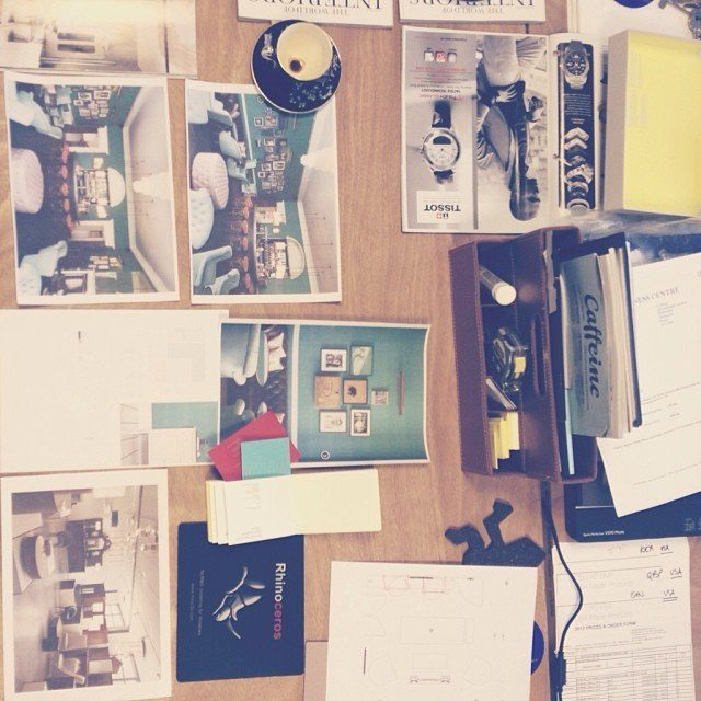 Finishing up Friday with a ideas session and mood board for a new, harbour side townhouse interior architecture project.