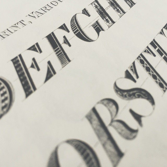 Italic Print, Variously Shaded. #type #typebook #typography #graphic #graphicdesign #lithographic